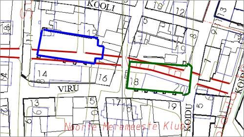 Красным цветом выделена современная улица Виру  Синим - Спасо-Преображенский собор  Зеленым - Церковь во имя Св. Иоанна
